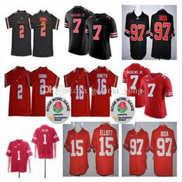 campo de fútbol Rebajas 2019 Ohio State Buckeyes 1 Justin Fields 7 Dwayne Haskins Jr. 2 JK Dobbins 97 Bosa 16 Barrett 15 Elliott College Football Rose Bowl Jerseys
