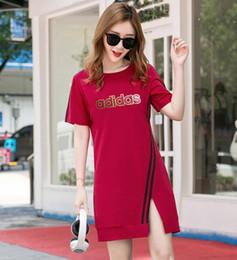 Argentina Para mujer diseñador camisetas vestidos de verano de las mujeres de moda logotipo impreso manga corta vestido de color sólido vestido de diseñador de las mujeres Suministro
