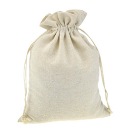 coating chemical Promo Codes - Drawstring Packaging Gift Bags for Handmade Muslin Cotton Coffee bean Jewelry Pouch Storage Wedding Favors Rustic Folk Christmas
