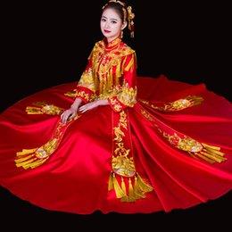 2019 золотые костюмы для новинок Китайский Традиционный Брак Qipao Золотые Кисточки Новинка Женщины Cheongsam Костюм Вышивка Древняя Невеста Свадебное Платье Платье S-XL