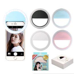 Lumières caméra couleur en Ligne-Téléphone portable Lentille de la caméra Clips légers LED USB Rechargeable circulaire Remplissez la lampe Nouveauté Articles couleur mix 6 4hx E1