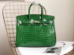 bolsa de crocodilo genuína Desconto Designer de bolsa de luxo bolsas de crocodilo Jacaré padrão 25 cm 30 cm 35 cm mulheres de couro genuíno Hams bolsa bolsa de moda totes