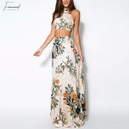 crop top skirt floral Promo Codes - Women Summer Dress 2 Pcs Set Crop Tops Bodycon Long Maxi Skirt Party Floral Print Beach Dresses Floral Vestidos