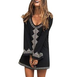 Платья с длинным рукавом покрывают колени онлайн-Женщины Повседневный принт с длинным рукавом Свободный черный, белый пляж O шеи бикини летнее платье выше колена