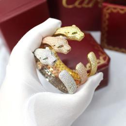 Corpo aberto da senhora on-line-Atacado de alta qualidade algemas exagerada conjunto de corpo Leopardo pulseira de Bronze cheio de diamantes trecho aberto cheetah pulseira pulseira de senhoras jóias