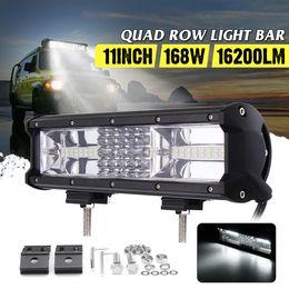 Luces led quad atv online-11 pulgadas 168W Quad Row coche LED barra de luz de trabajo Combo campo a través lámpara de niebla 6000K LED barra de luz para SUV ATV camión barco