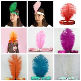 Indiani della fascia online-Paillettes struzzo Piuma Fascia cappello top Costume Fancy Dress Dancing Resina Gem Hairband Cosplay Indiani Puntelli del partito favori GGA1383