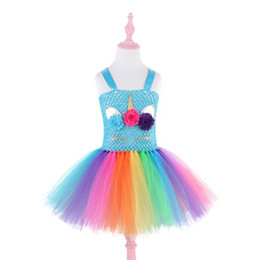 bubble skirt dress girls Coupons - 2019 INS Baby Girls Rainbow Skirt Children Cute Unicorn Princess Dresses Kids Lovely Cartoon Colorful Bubble Skirt Cosplay Prom Dresses sale