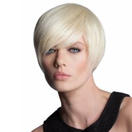 Parrucca di moda Corta da donna bianco cremoso Parrucche piene Corto dritto  Parrucca laterale frangia Moda Parrucche sintetiche resistenti al calore e6a7470fb370