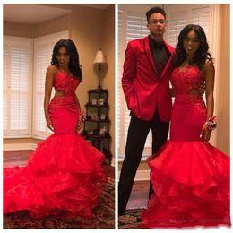 456fd4df0663 vestiti di organza della sirena della ragazza Sconti 2019 Hot Red African  Black Girls Mermaid Prom