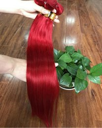 Argentina Recto sedoso brasileño rojo paquetes de cabello humano 3 piezas mucho mejor venta de color rojo puro de la virgen cabello humano teje extensiones dobles tramas Suministro