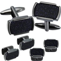 gemas de punho Desconto 6 PCS Conjunto Cufflinks Studs Colar Com Natural Shinning Pedra Azul para Homens Tuxedo HAWSON