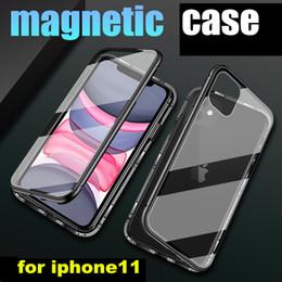Magnetische Adsorption Metall Telefon-Kasten für iPhone 11 Pro Xr Xs Max X Full Coverage Aluminium Rahmen mit gehärtetem Glas Back Cover von Fabrikanten