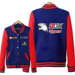 Lol hoodie online-ROX Tigers LOL S6 Unisex Hoodies Cosplay Sweatshirt Herbst und Winter Baseball Jacke für Männer Frauen Hoodie Kostenloser Versand