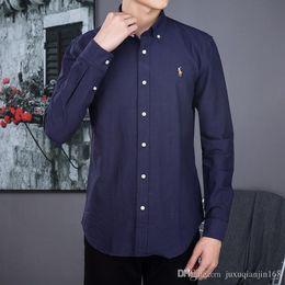 Atacado 2018 outono e inverno dos homens de mangas compridas Ralph camisa dos homens casuais POLO camisa moda Oxford camisa social marca clo de