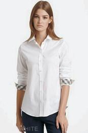 Womens 2019 Roupas de Grife de Luxo Moda Casual Camisas de Desenhador das Mulheres de Cor Pura Algodão de Manga Longa Camisas de Lapela Preto Branco de