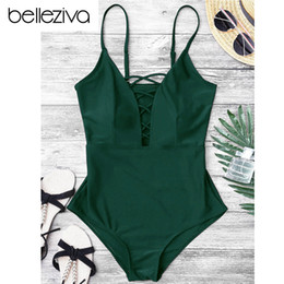12e07915f0 2019 Belleziva Women Sexy Crisscross Plunge One Piece Swimwear Backless  Monokini Swimsuit Bandage Bathing Suits Beachwear Swim Wear