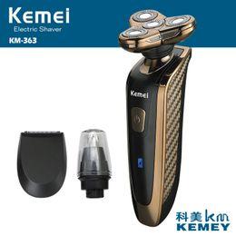 2019 lâminas para homens Kemei Recarregável Mens Barbeador Elétrico Lavável Barbeador Elétrico À Prova D 'Água Navalha de barbear 3D aparador de barbear D45 lâminas para homens barato