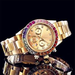 volle kristallfrauenuhren Rabatt Reloj New Voller Diamanten Uhr Damenmode Damen Gold Uhr Kristall Zifferblatt Strass Lünette Edelstahl Uhr