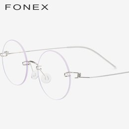 db4b062f03 FONEX Screwless Eyewear Prescription Eyeglasses Women 2019 Rimless Round  Myopia Optical Korean Titanium Alloy Glasses Frame Men