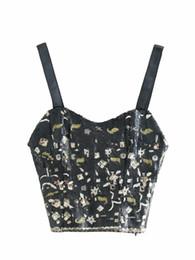 Camisola preta de lantejoulas on-line-2018 Novos Tanques das Mulheres Outono Camis Sexy Lindo Com Decote Em V Lantejoula Costura Curto Camisola Outerwear Preto S-L