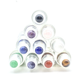 personal oil Coupons - 100pcs Natural Gemstone Roller Ball For 5ml 10ml THICK Essential Oil Perfumes Oil Liquids Bottle Roll On Bottles