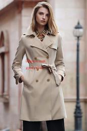tubo largo verde Rebajas trinchera de mujer clásica Slim fit cinturón moda Ocio británico medio largo gabardina de alta calidad Ropa de mujer B-1