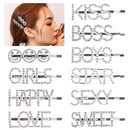 2019 pinzas para el cabello de acero inoxidable Letra brillante Pinza para el cabello Palabra Pasadores Pasadores Alfileres de cristal Bling Diamantes de imitación Joyas para el cabello Accesorios para la cabeza Accesorios para mujeres Niñas