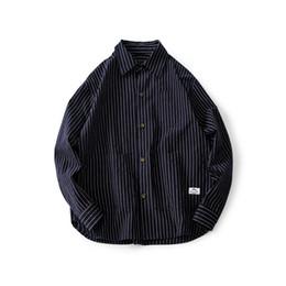 2020 camicie uomo 2018 Autunno Inverno Streetwear Camicia A Righe Da Uomo Manica Lunga Cargo Camisa Masculina Casual Camicia di Jeans Famoso Marchio Mens Retro Abbigliamento Nuovo camicie uomo economici