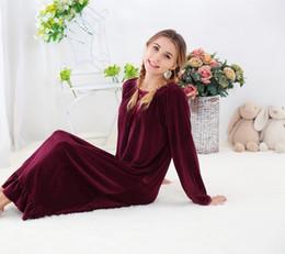 Königliches nachthemd online-Süße und superweiche Gold-Nerz-Samt einseitig lange koreanische Version von Royal Princess Nightgown Haushaltskleidung