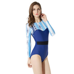 rash guards women swim Promo Codes - Best Selling Surf Suit T Shirt for Swimming Surfing Suit Backless Sexy Swimwear Women One Piece Long Sleeve Rash Guard Trendy New Swimsuit