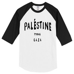 wholesale paris fashion Promo Codes - T-shirt 2019 three quarter sleeve Palestine Paris Gaza funny fashion men's T-shirts hip hop sportswear jersey t shirt homme top