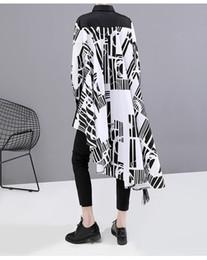 coreano, listrado, blusa Desconto Novo 2019 Estilo Coreano Mulheres Outono Camisa Listrada Longa Blusa de Manga Longa Senhoras Blusas Exclusivas Camisa Feminina chemise femme