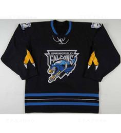 Botões bordados on-line-Personalizado AHL Masculinos Springfield Falcons 5 John Adams Autêntico Jersey Hóquei Azul Duplo botão Costurado Logos bordados