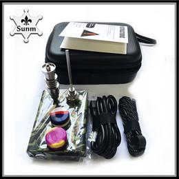 Caixa de unhas on-line-Prego portátil electri dab unha Dnail kits TC caixa dabber digital com Titanium unhas têm 16 / 20mm para bongo de vidro Camo Wood 0268106-1