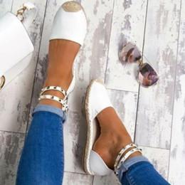 Хлопок ручной работы онлайн-Заклепки из бисера женская мода ручной работы из хлопчатобумажной ткани эспадрильи скольжения на случайные холст мокасины женские плоские туфли размер SDC67