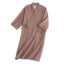 15fbd538df Cozy spring pure cotton kimono robes men 2019 100% cotton casual male  bathrobes long sleeve SPA Japanese robes for men New 2019