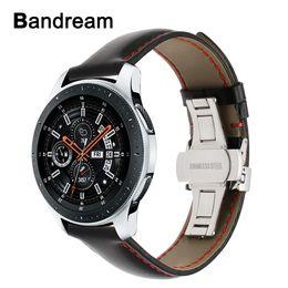 быстрый ремень Скидка Италия натуральная кожа ремешок для часов 20 мм 22 мм для Samsung Galaxy часы 46 мм 42 мм R800 / R810 бабочка Застежка ремешок быстрый релиз