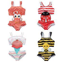 Traje de banho preto e preto on-line-Kid Beachwear Amarelo preto listrado abelhas Swimsuit Red Bottom White dot Coruja Fato de banho Joaninha Ice Cream Ruffles bordado padrão swimwear