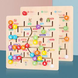 Brinquedos correspondentes para crianças on-line-Brinquedos para crianças Montessori Labirinto De Madeira Labirinto Slide Puzzle Jigsaw Board Alfabeto Digital Matching Early Educacional Brinquedos Para Crianças