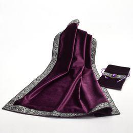Toalhas de mesa de pano preto on-line-Toalha de mesa Altar Tarot Table Cloth Decor Cartões de Adivinhação Quadrado Wicca Pano com Bolsa Bag Set Azul / Roxo / Preto