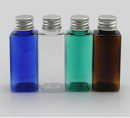 botellas de cosméticos de ámbar para mascotas Rebajas Venta al por mayor- botella de tapa de aluminio de forma cuadrada de 30 ml, botellas de plástico PET de color ámbar, botella pequeña de tapa de metal, empaque recargable de tarro vacío cosmético