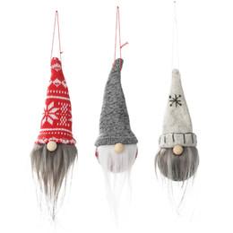 2019 decoração de neve e spray Novas decorações de natal chapéu pontiagudo sem rosto boneca pingente criativo velho boneca pequeno charme