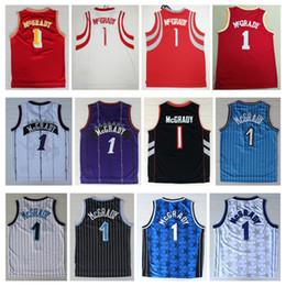 604f6cc2139f NCAA2019 Hot MenTracy McGrady Maillot De Broderie Pas Cher 1   Tracy  McGrady Maillots De Basketball Tean Mesh Noir Blanc Rouge Bleu Violet  Chemises Gratuit