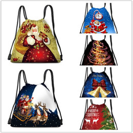cloches de sac Promotion Hot New Père Noël Arbre de Noël motoneige Wapiti Cloche d'impression Tissu Drawstring Backpack étudiant sac léger