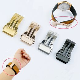 Couro Aço escova polonês inoxidável Watch Band Buckle Glide bloqueio fivela de aço para o bracelete de borracha Strap Belt de