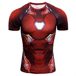 camisa de compresión de hombre de hierro Rebajas 3D Iron Man Manga Corta camiseta para correr Hombres de Compresión de Secado rápido Fitness Tight Top Camiseta Gym Sport Shirt Men Rashgard Sportswear
