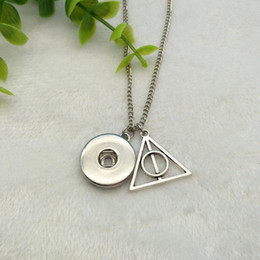 slide snap button Coupons - Hot Antique Silver Deathly Hallows&Dark Buckle Charm Beauty Round Button 60cm Chain Necklace Fit 18MM Snap Buttons Jewlery K295