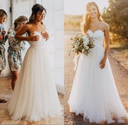 2019 laço de trem catedral romântico 2019 Nova Querida Lace A linha Simples Barato Vestidos de Noiva País Vestido de Noiva Elegante Tulle Vestidos de Noiva de Praia