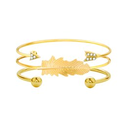 silicone beaded bracelets Coupons - Wide leaf arrow studded gold beaded three-piece bracelet
